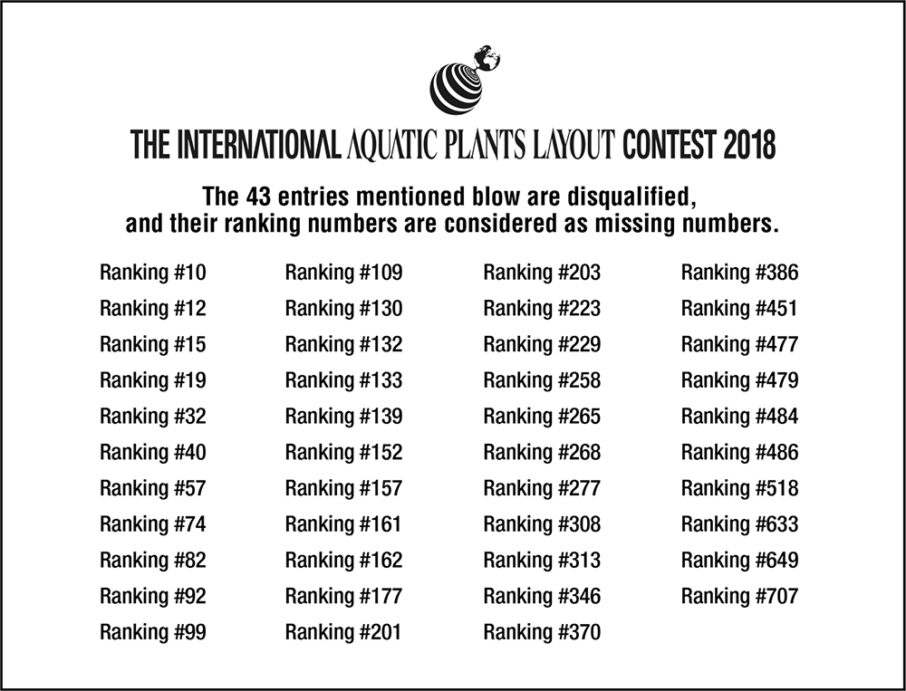 The International Aquatic Plants Layout Contest 2018 - Contest entry disqualification announcement